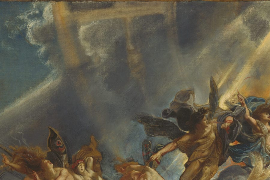 Peter Paul Rubens, The Fall of Phaeton, detail of the upper left, showing the original blue sky, white clouds, and tawny zodiac, muted by later gray paint, begun ca. 1604–1605, completed ca. 1610–1612, National Gallery of Art, Washington