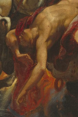 Peter Paul Rubens, The Fall of Phaeton, detail of falling Phaeton and flames, begun ca. 1604–1605, completed ca. 1610–1612, National Gallery of Art, Washington