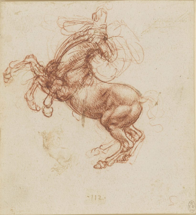Leonardo da Vinci, A Rearing Horse, ca. 1503–1504, The Royal Collection Trust, London