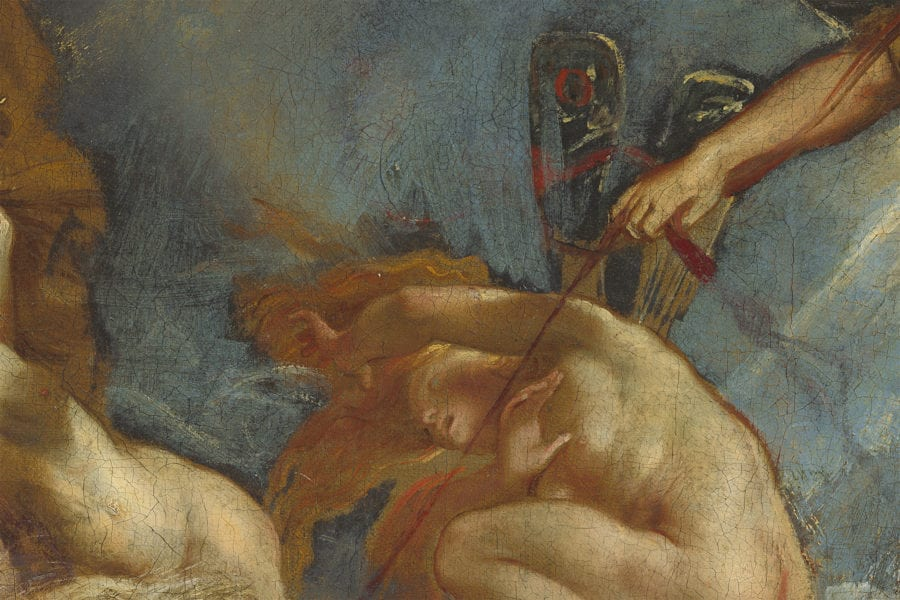 Peter Paul Rubens, The Fall of Phaeton, detail of revised blue sky upper left, begun ca. 1604–1605, completed ca. 1610–1612, National Gallery of Art, Washington