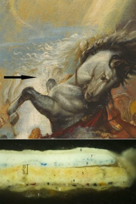 Peter Paul Rubens, The Fall of Phaeton, detail of the added white horse, with an arrow indicating the sample location, begun ca. 1604–1605, completed ca. 1610–1612, National Gallery of Art, Washington