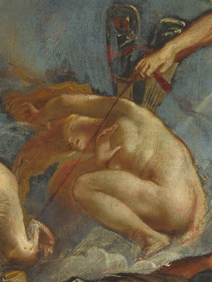Peter Paul Rubens, The Fall of Phaeton, detail of crouching hora, National Gallery of Art, Washington