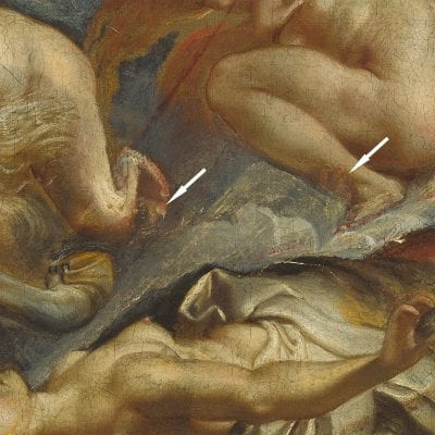 Peter Paul Rubens, The Fall of Phaeton, detail of the space between the Horae at left, begun ca. 1604–1605, completed ca. 1610–1612, National Gallery of Art, Washington