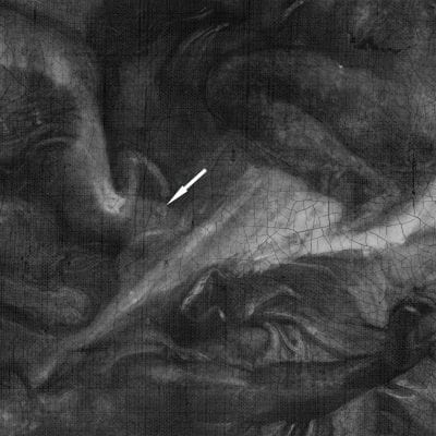 X-radiograph, Peter Paul Rubens, The Fall of Phaeton, detail of space between Horae with arrows
