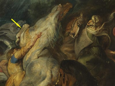 Fig 55-final Rubens Courtauld Conversion painting det horses - arrow - layers