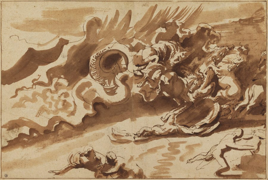 Peter Paul Rubens, The Death of Hippolytus, ca. 1610–1612, pen and ink with wash on beige laid paper, 218 x 327 mm. Bayonne, Musée Bonnat-Helleu