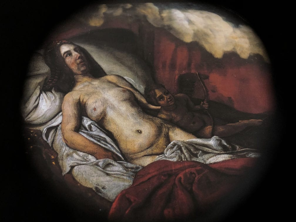 Samuel van Hoogstraten,  Venus/Danaë/Erato and Cupid, top panel of A Peep,  1655–60,  National Gallery, London