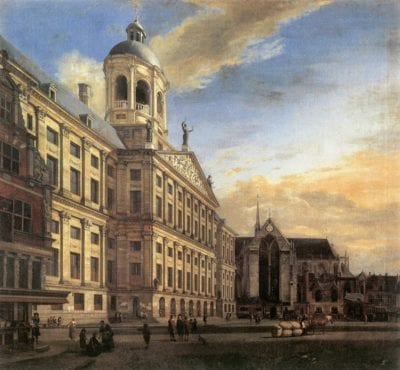 Jan van der Heyden,  View of the Town Hall of Amsterdam with the Dam, 1667,  Galleria degli Uffizi, Florence
