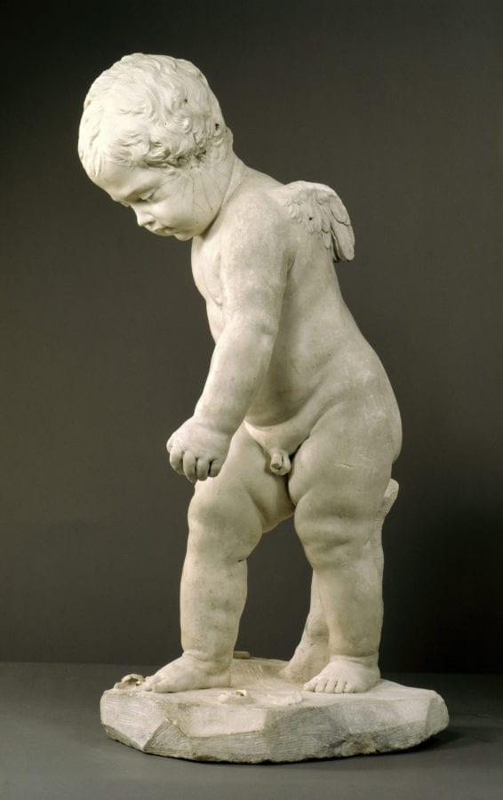 François Duquesnoy, Cupid Carving His Bow [damaged during World War T, ca. 1626, Staatliche Museen zu Berlin, Skulpturensammlung