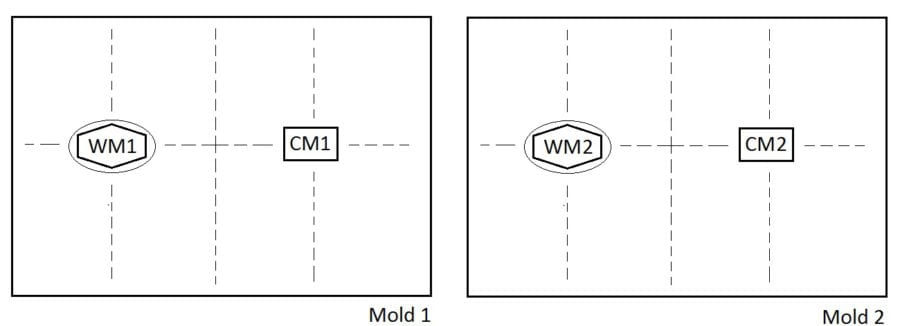 Twin molds with dashed lines indicating the cutting up of full broadsheets into separate sheets of paper, all of which are batchmates (illustration by author)