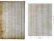 Transmitted-light photograph of a blank sheet of laid paper from a 1536 French book. Left: Right half of a full-mold sheet containing Foolscap with Five-pointed Collar watermark. Right: Enlargement of region around watermark with chain lines and laid lines