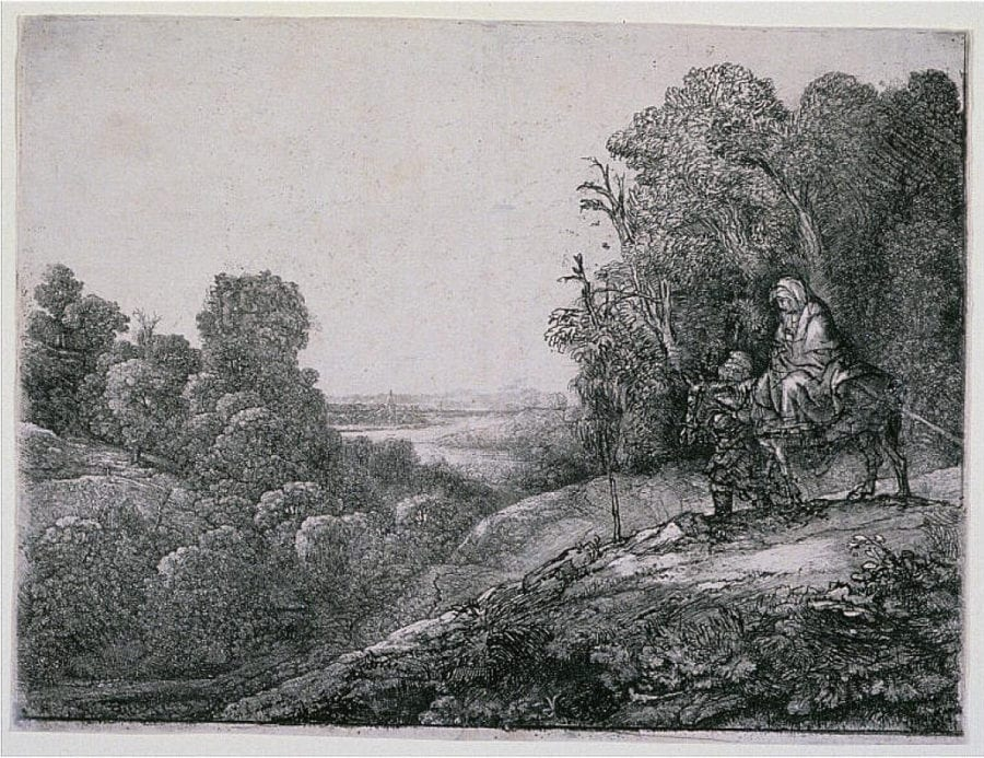 Rembrandt Harmenszoon van Rijn, The Flight into Egypt, after Hercules Seghers, Herbert F. Johnson Museum, Cornell University, Ithaca, NY, etching, drypoint and engraving on paper, 21.6 x 28.6 cm (sheet), B56vi(?), 84.010, c. 1652