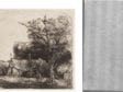 Left: Rembrandt Harmenszoon van Rijn, Landscape with Three Gabled Cottages, The Frick Collection, 1916.3.30. Right: Beta-radiograph of portion around watermark