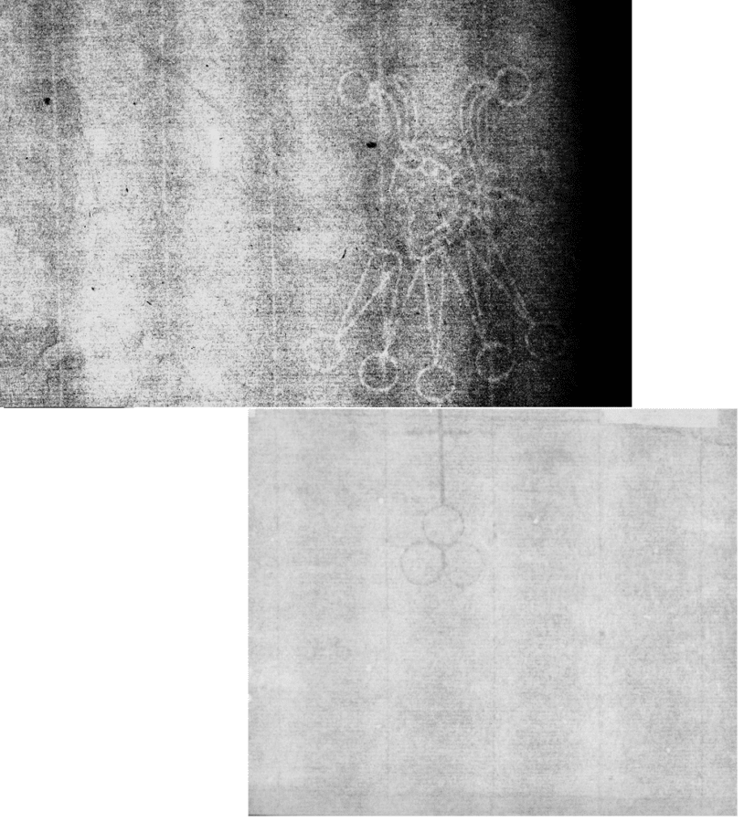 Chainspace alignment of Foolscap with Five-pointed collar K.a.a (top) and watermark of interest and match
