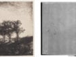 Left: Rembrandt Harmenszoon van Rijn, Landscape with Three Trees, The Frick Collection, 1915.3.28. Right: Beta-radiograph of portion around watermark