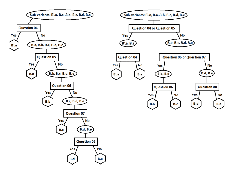 Two possible decision-tree branches for identifying subvariants of HIS variant B