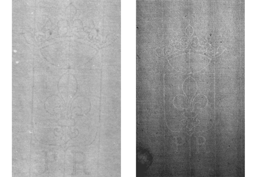 Left: Watermark under investigation. Right: Strasbourg Lily E'.a.a