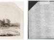 Left: Rembrandt Harmenszoon van Rijn, Landscape with Haybarn and Flock of Sheep, The Frick Collection, 1916.3.29. Right: Beta-radiograph of portion around watermark