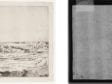 Left: Rembrandt Harmenszoon van Rijn, The Goldweigher's Field, The Frick Collection, 1915.3.31. Right: Beta-radiograph of portion around watermark