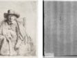 Left: Rembrandt Harmenszoon van Rijn, Clement de Jonghe, The Frick Collection, 1916.3.36. Right: Beta-radiograph of portion around watermark
