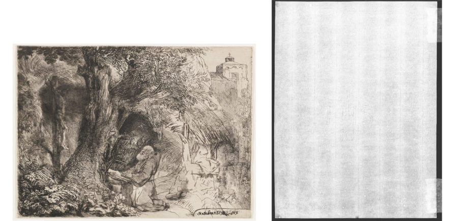 Left: Rembrandt Harmenszoon van Rijn, St. Francis Praying Beneath a Tree, The Frick Collection, 1916.3.35. Right: Beta-radiograph of portion around watermark