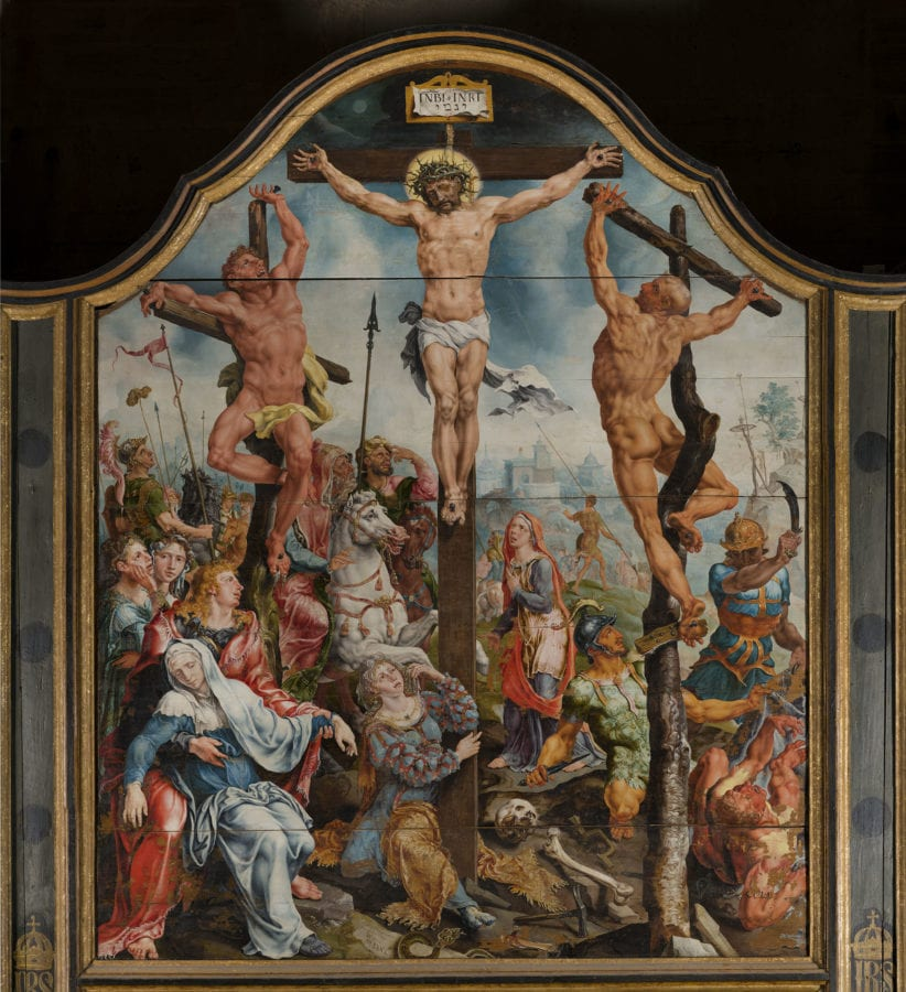 Maarten van Heemskerck, Crucifixion, 1540, (middle panel of polyptych), Cathedral, Linköping, Sweden
