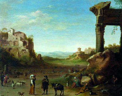 Cornelis van Poelenburch, Landscape with Ruins and Figures, Collection HM Queen Elizabeth II, London