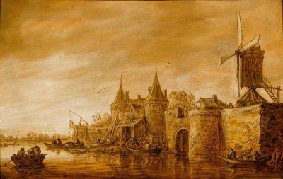 Jan van Goyen, Fortified Town at a River, 1651, P. de Boer, Amsterdam