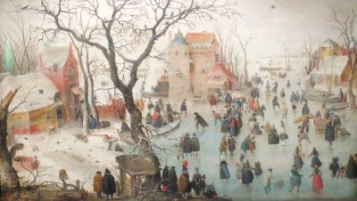 Hendrick Avercamp, Winter Landscape with Skaters near a Castle, 1608, Bergen Art Museum