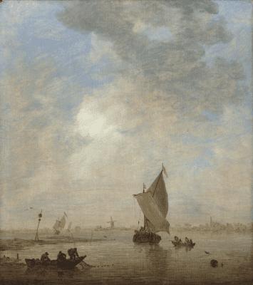Jan van Goyen, A River Scene with Fishermen Hauling a Net, 1640–45, National Gallery, London