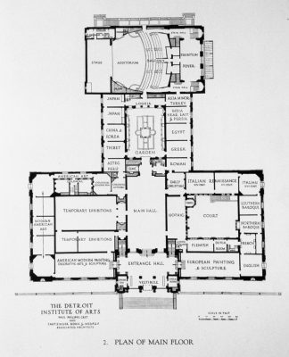 Paul Philippe Cret, Plan of the Main Floor of the Detroit Institute of Arts, Research Library and Archives, Detroit Institute of Arts 1928,